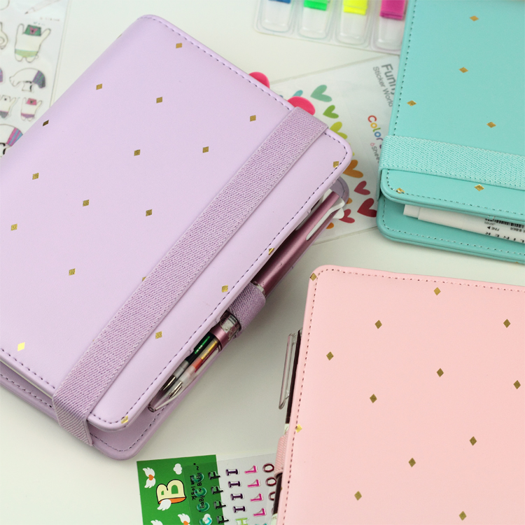 Image 3 - New Arrive Star JM Polka Dot 6 loose leaf Notebook A5 A6 Organizer Planner With Elastic Bind Match  Dokibook Filler-in Notebooks from Office & School Supplies