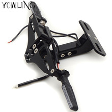 Motorcycle Adjustable Folding License Plate Holder Tail Rear Light Bracket Mount Support YZF R3 R6 YZFR6 YZFR3 YZF R6 2005 2016