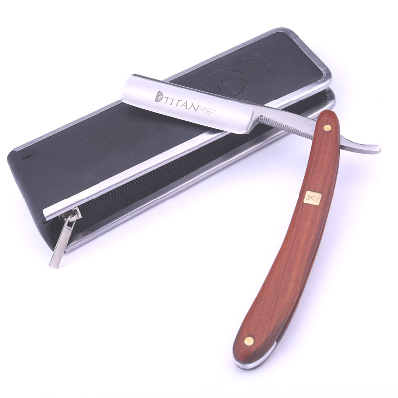 Titan Wooden Handle Mens Shaving Tools Straight Razor Shave Free Shipping