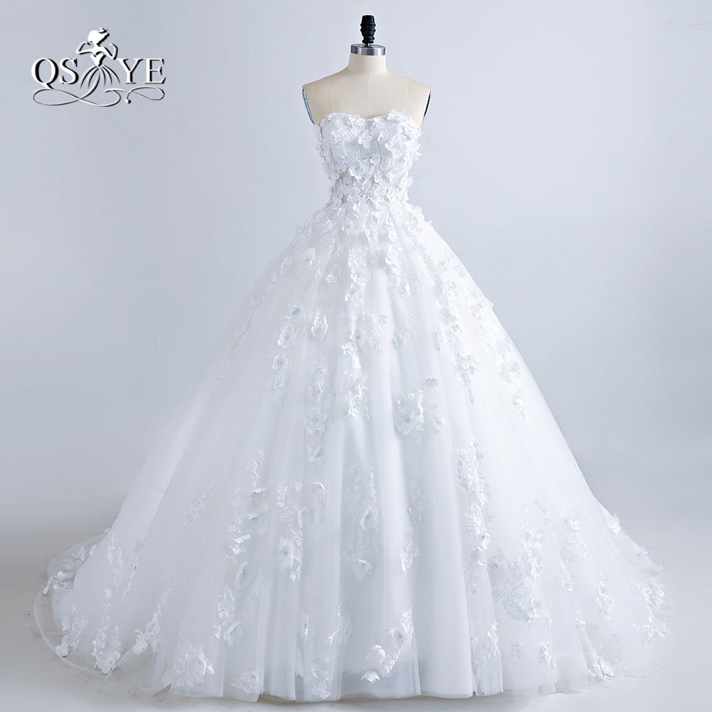 Fashionable 3D Flower Wedding Dress V Neck Half Long Sleeves See ...
