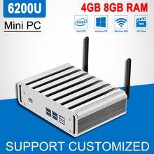 6th Gen Core i5 6200U мини офисный компьютер Окна 10/8/7 Мини-ПК Barebone безвентиляторный HD Графика 520 4 К плеер HTPC PC