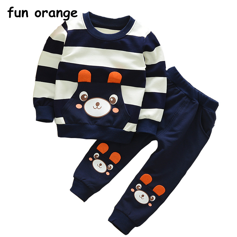 Fun Orange Kids Clothes Baby Boys Clothing Set Cartoon Bear Striped Toddler Boy Clothing Children Boys Costume Autumn Outfits boys clothing set children sports suits kids fashion 2017 brand autumn baby boy clothes cartoon print tops pants outfits korean