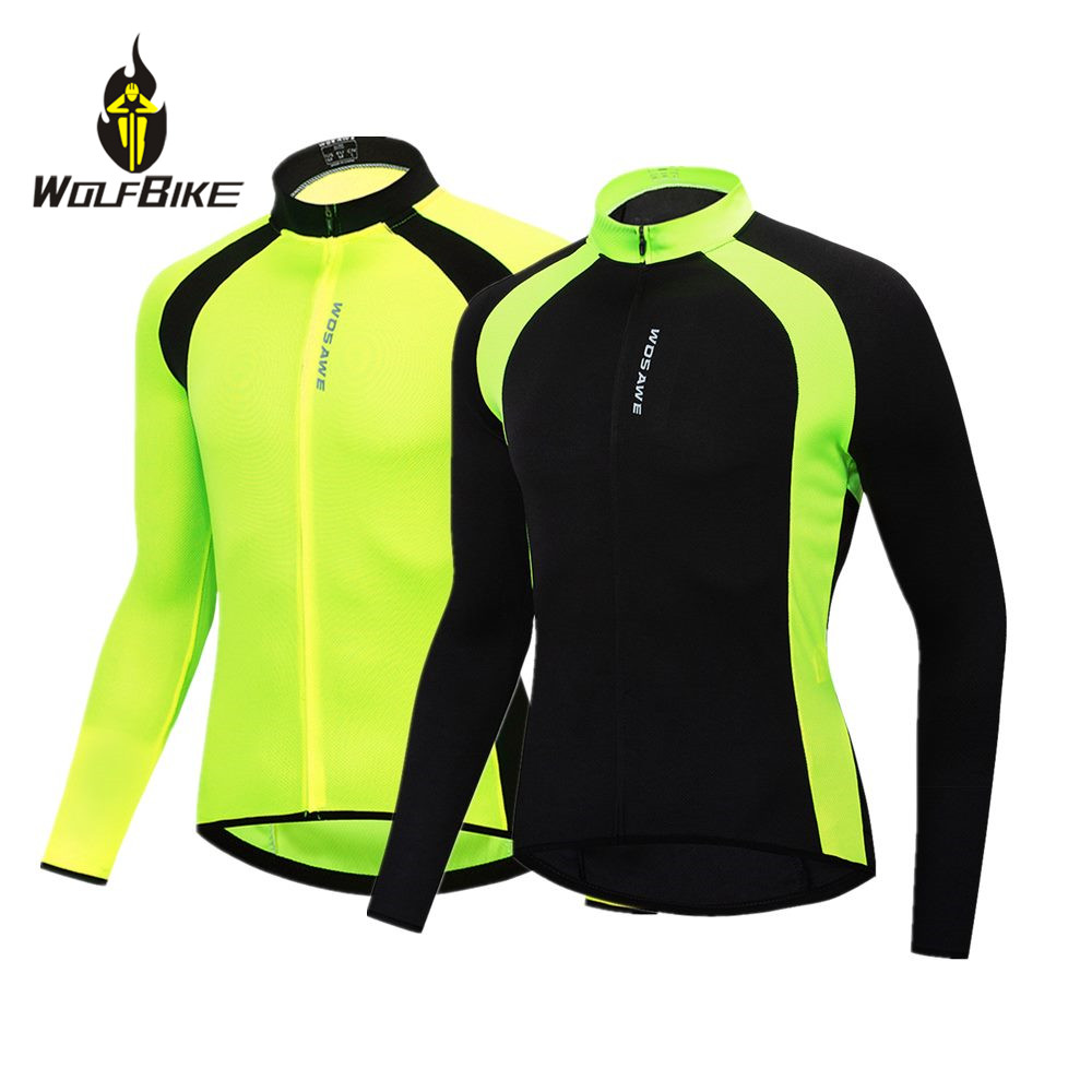 WOSAWE Long Sleeve Mens Cycling Jersey High Visibility Color Breathable Bike Shirts Tight Slim Bicycle Maillot MTB S-2XL
