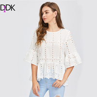 DIDK White Fluted Sleeve Eyelet Embroidered Blouse Ladies 3 4 Bell Sleeve Tiered Blouse With Ruffle