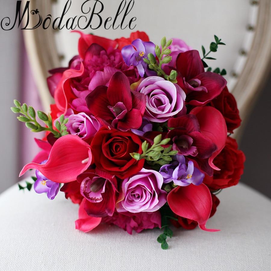 Modabelle Artificial Red Purple Wedding Bouquet For Brides Vintage