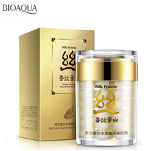 BIOAQUA Brand Silk Protein Face Cream Moisturizing Anti-aging Whitening Cream 60g Shrink Pores Skin Care Anti Wrinkle Face Care bioaqua brand skin care horse oil whitening hydrating moisturizing face cream anti wrinkle anti aging face care day cream 50g