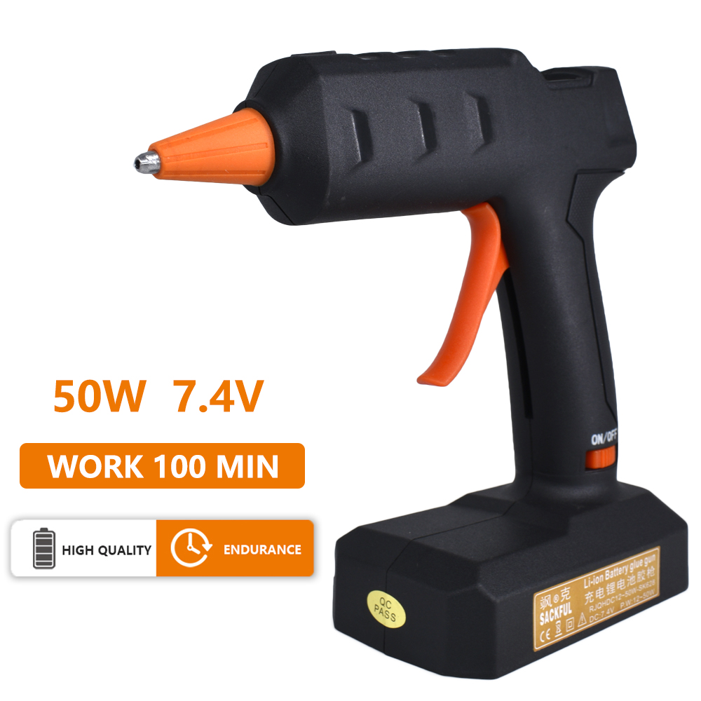 50W Wireless Lithium Battery Glue Gun Home DIY Production Repair Bonding Cordless Hot Melt Glue Gun With 7mm Glue Stick