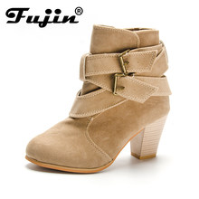 Fujin Hot Autumn Winter Women Boots Ladies shoes Square Heel boots Suede  Leather Female ankle boots with thick scrub size 35-39 a99455472e85