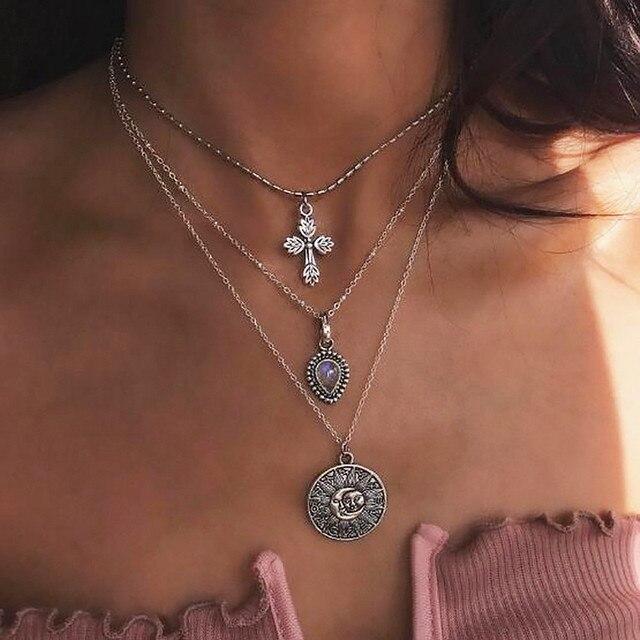 538452594170 € 0.56 50% de DESCUENTO|KISSWIFE Bohemia joyería de cristal de aleación de  plata Multi capas Cruz Luna colgante collares para las mujeres joyería ...