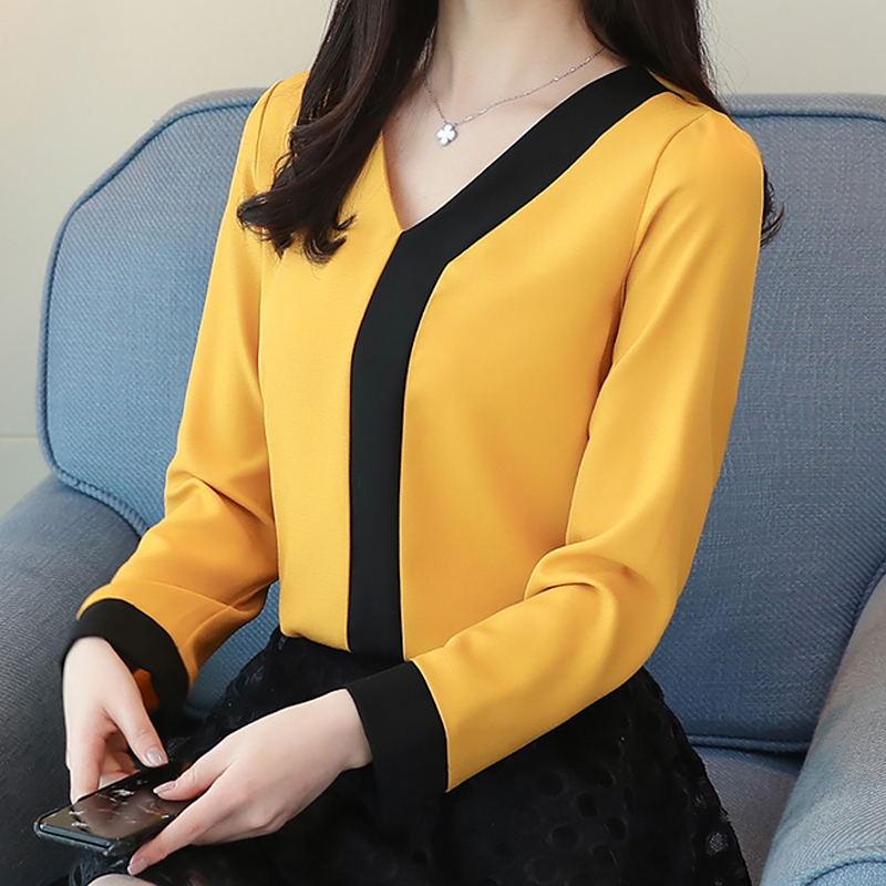 long sleeve V-neck women tops patchwork women's clothing shirts Tops