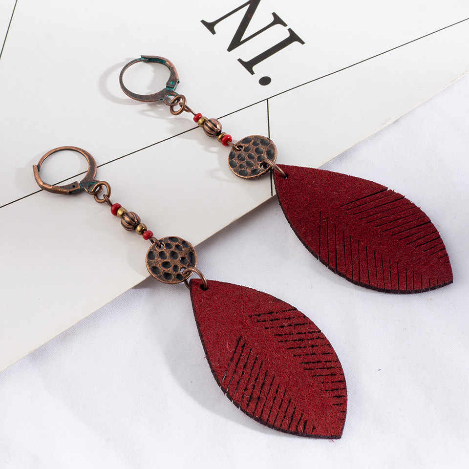 2018 Leaf leaves tassel earrings women Traditional qualitative eardrop contracted fashion girl leather yellow earrings wholesale