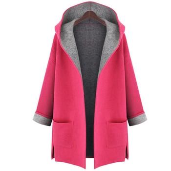 L-5XL Women Hood Woolen Coat Autumn Wool Blends Fashion Outwear Female Plus Size Coats For Ladies Autumn Winter Wool Blends 1
