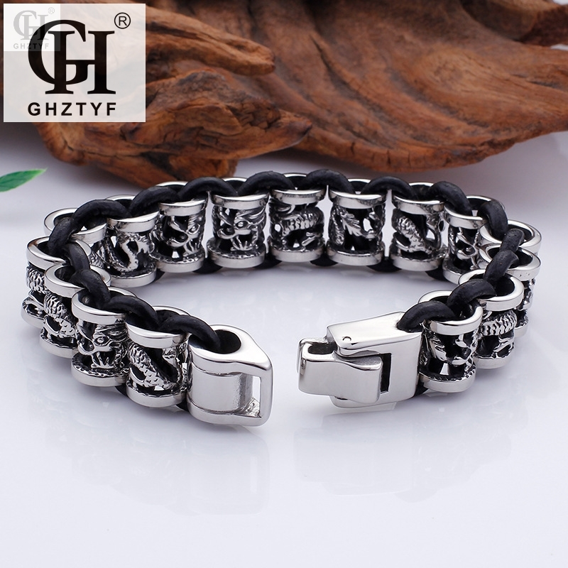 High Quality Stainless Steel Bracelets For Men 12 Zodiac Mens Bracelet 2018 Bangle Jewelry Dragon Shape Accessories Jewellery все цены