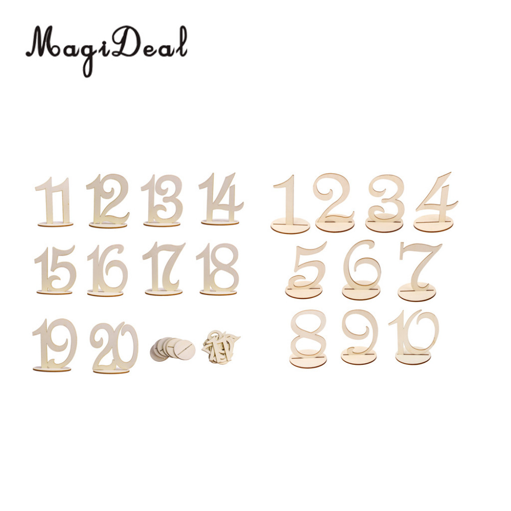 MagiDeal 10pcs/Lot Wooden Wedding Party Supplies 1-10/11-20 Table Number Sign Figure Card Stand Place Holder