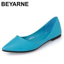 BEYARNENew Women Flats Shoes Leather Platform 1cm Heels Shoe White Women Pointed Toe Leather Girl Shoes