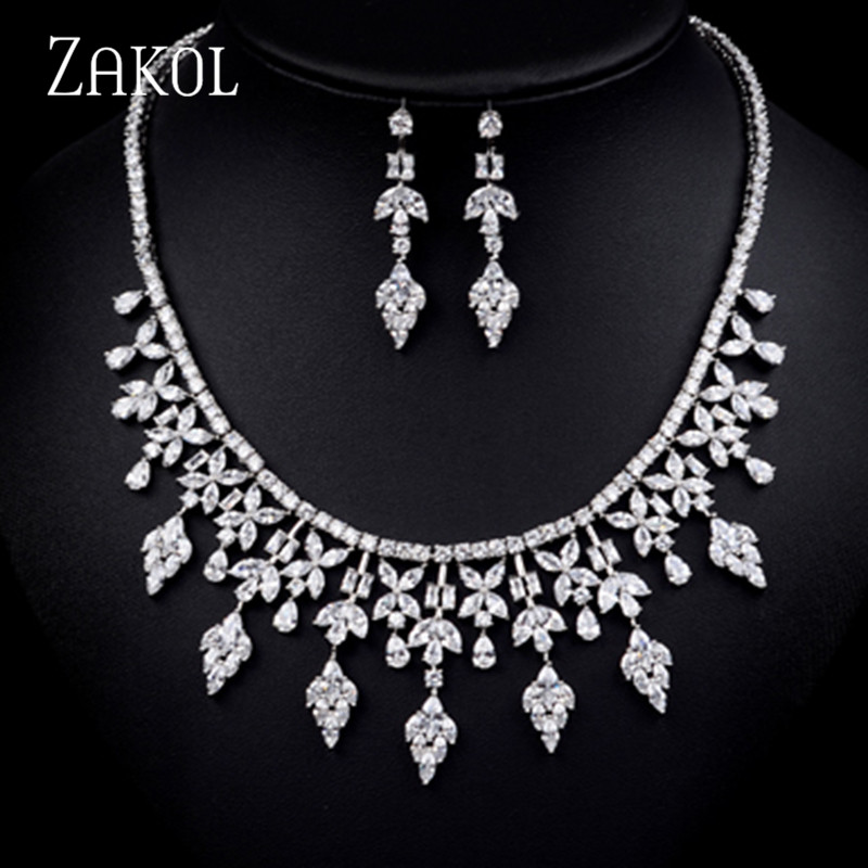 ZAKOL Elegant Zircon Bridal Wedding Jewelry Sets AAA Crystal Leaf Necklace Earrings Sets For Women FSSP165 pair of chic faux crystal waterdrop leaf earrings for women