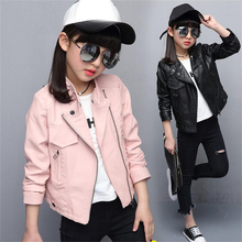 2017 new children's clothing spring girls pu leather spring and autumn Korean leather jacket coat tide