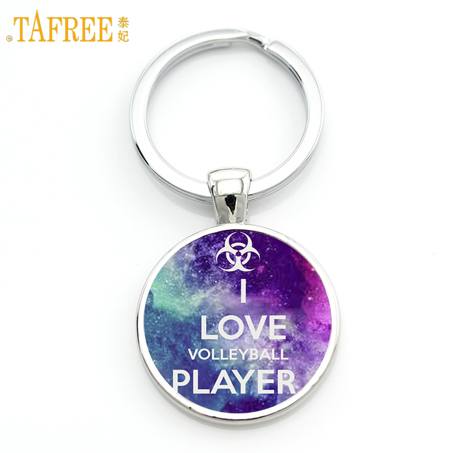 TAFREE Brand glass cabochon I Love Volleyball Player keychain men women summer sports handmade key chain ring holder gifts SP206