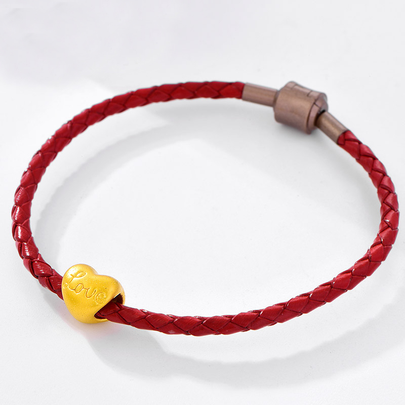 Pur 24 K Bracelet en or jaune 999 or amour coeur Bracelet 0.8g