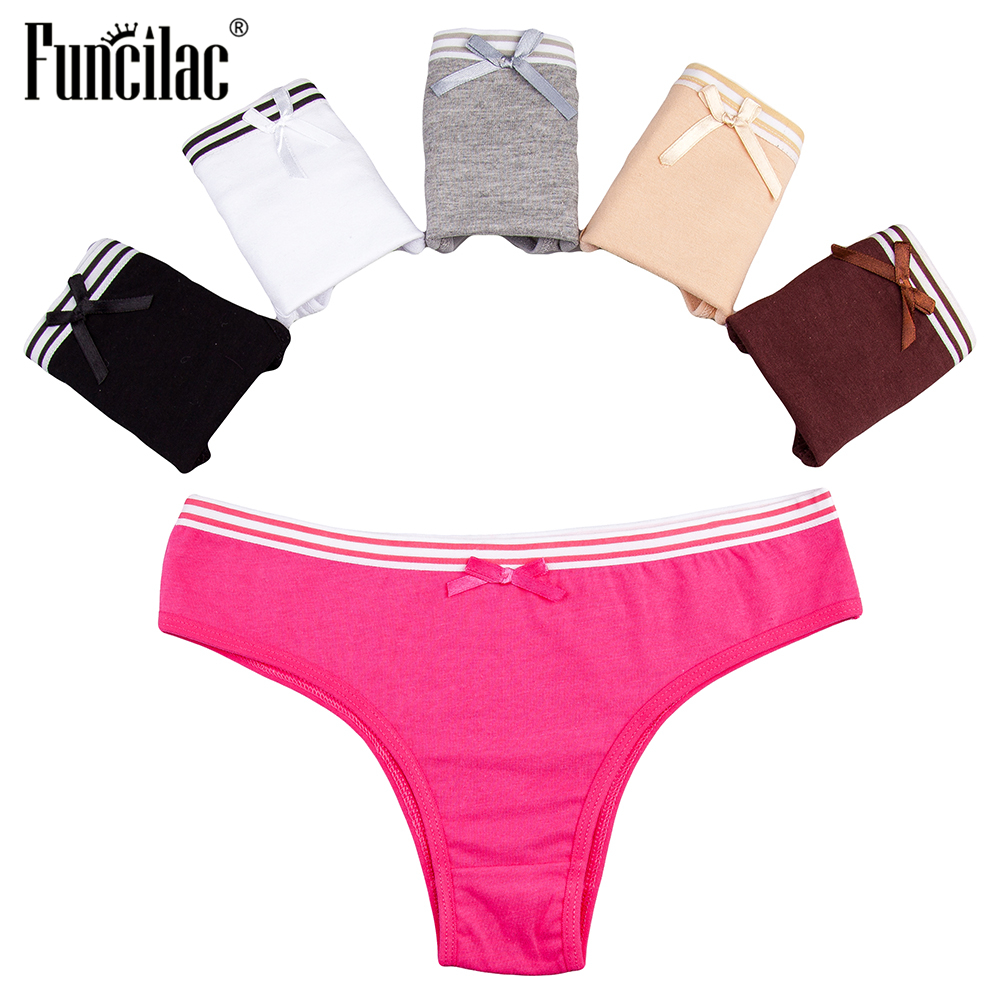 FUNCILAC Sexy Briefs for Women Cotton Women   Panties   Soft Lingerie Female Underwear Ladies Girls Underpants Low Waist 5 Pcs/set