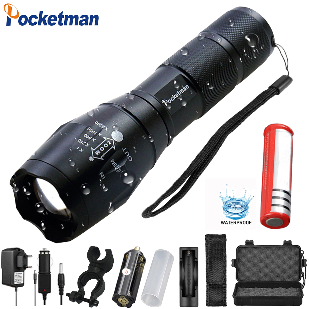 Most Powerful  T6 L2 XP-L LED Flashlight Rechargeable Zoomable Linternas Torch Waterproof Lamp By 1*18650 Or 3*AAA Hand Light