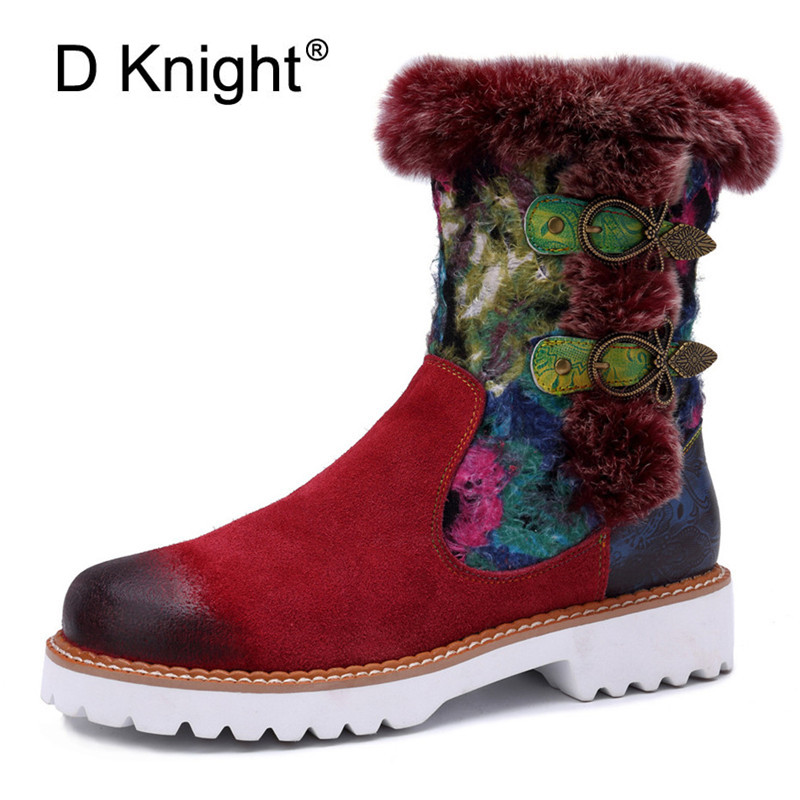 2019 New Rabbit Fur Snow Boots Women Shoes Genuine Leather Casual Comfortable Women's Boots Retro Ladies Short Plush Flats Boots