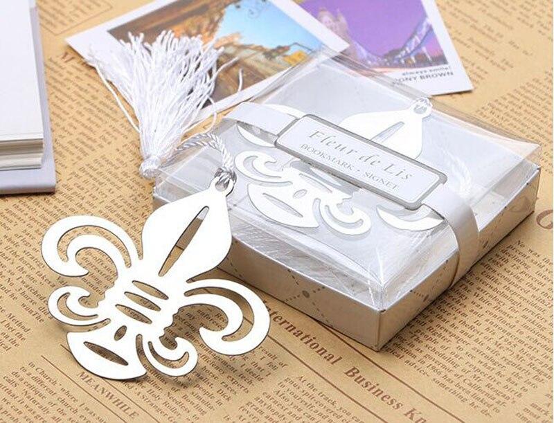 100PCS Factory directly sale Wedding Favor Baby Shower Fleur-de-Lis Metal Bookmark with Elegant White-Silk Tassel