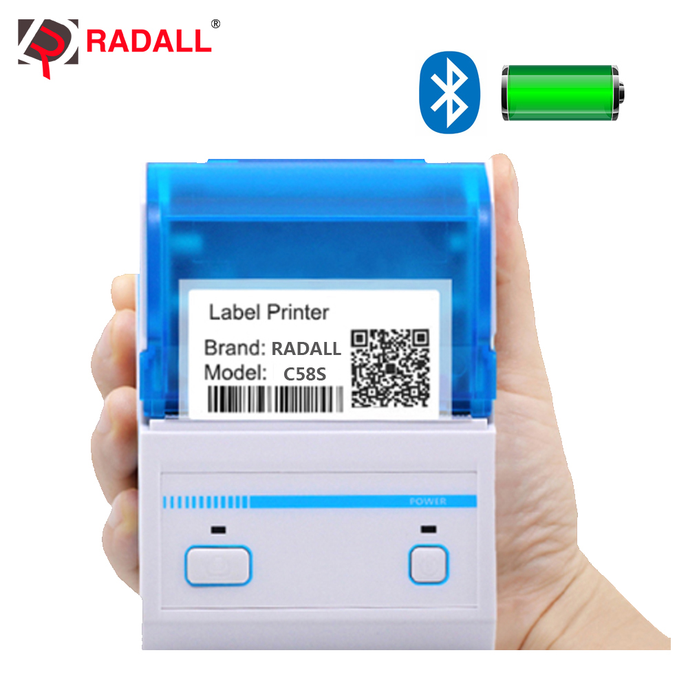 RADALL RD-C58S 58mm Thermal bar code label Printer support Android/IOS system USB/Bluetooth Printer mini pocket barcode makerRADALL RD-C58S 58mm Thermal bar code label Printer support Android/IOS system USB/Bluetooth Printer mini pocket barcode maker