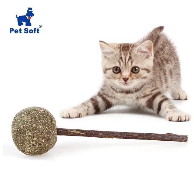Juguetes de gatos suaves para mascotas, Catnip, dientes de mascar, golosinas de limpieza, Catnip Natural, forma de piruleta, bola divertida con plata