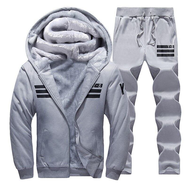 Sporting Suit Uomo Inverno Tute degli uomini grigi di Imposta Addensare In Pile Plus Size XXXXL Con Cappuccio + Pantaloni della Tuta Suit Outwear stile Felpa Con Cappuccio