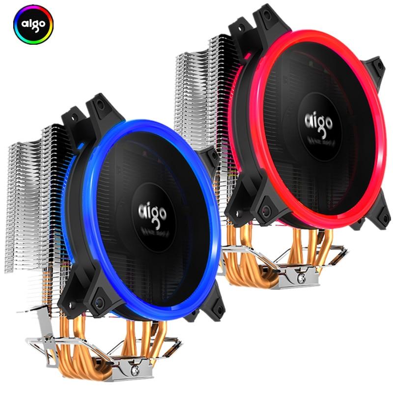 Aigo Icy E3 CPU Cooler TDP 250W 4 Heatpipes Dual PWM 4pin 120mm Double Ring LED Fan Radiator Cooler for LGA 775/115x/AM2/AM3/AM4 cooler master 240 cpu liquid cooler two 120mm quiet fan compatible intel 2066 115x amd am4 cpu water cooling fan cooler