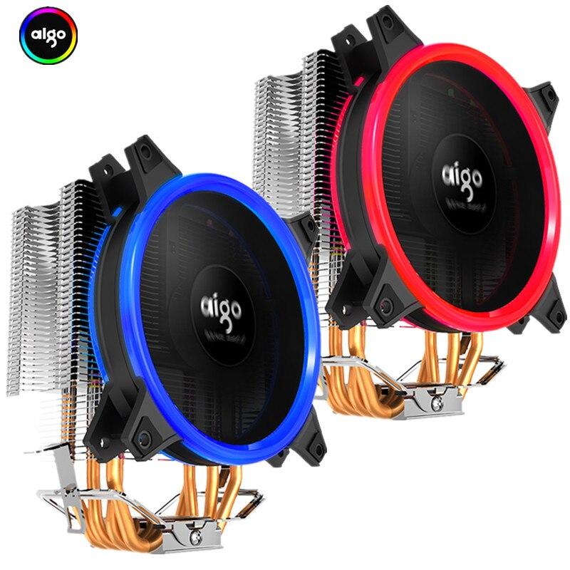 Aigo Icy E3 CPU Refroidisseur TDP 250 w 4 Heatpipes Double PWM 4pin 120mm Double Anneau LED Ventilateur Radiateur refroidisseur pour LGA 775/115x/AM2/AM3/AM4