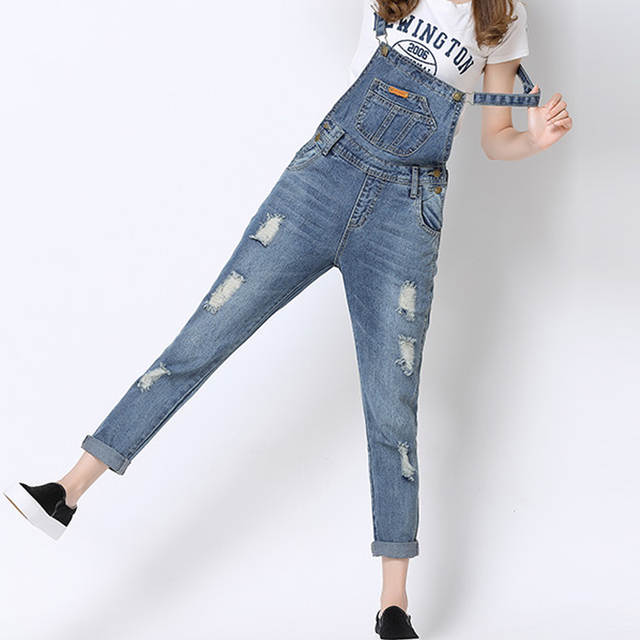 afcdfa4aa7c Online Shop 2016 Women Ripped Hole Destroyed Vintage Slim Denim Playsuits  And Jumpsuits