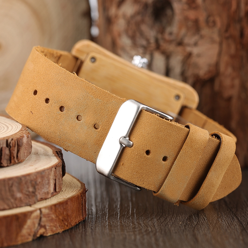 Rectangle Dial Wooden Watches for Men Natural Wood Bamboo Analog Display Genuine Leather Band Quartz Clocks Male Christmas Gifts 2020 2019 (51)