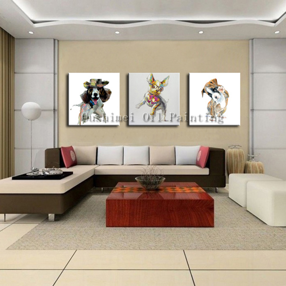 Hand painted picture on canvas modern dog animal wall art - Contemporary wall art for living room ...
