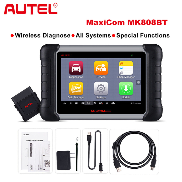 Best Price Autel MaxiCOM MK808 BT Wireless Car Diagnostic Tool  OBD2 Scanner Diagnosis Functions of EPB/IMMO/DPF/SAS/TMPS same as MX808