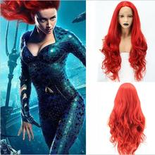 Aquaman Mera Cosplay Wig American Anime Movie 75 cm Long Curly Wavy Heat Resistant Synthetic Hair Women Costume Party Wig Red цена 2017