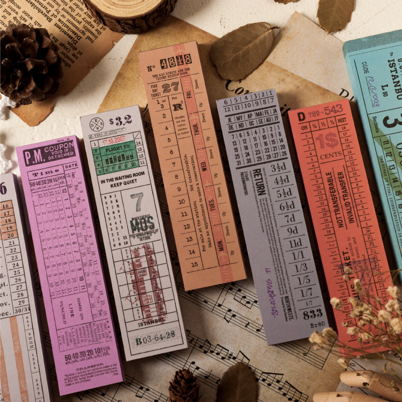 1pc 100 Sheets/pc Antique Long Ticket Series Retro Memo Pad DIY Bullet Journal Sketchbook Scrapbook