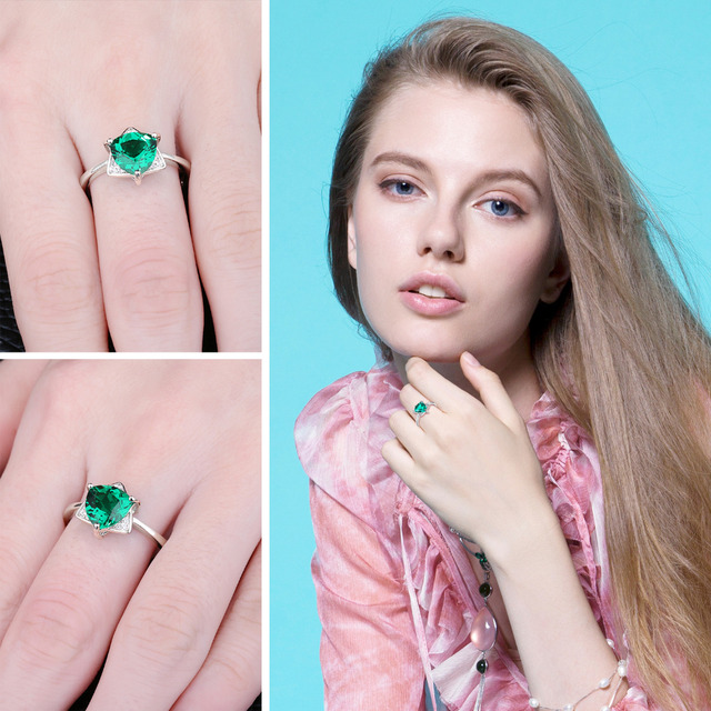 JewelryPalace Triangle Shape 1.68ct Created Emerald Engagement Ring Charm S925 Sterling Silver Rings For Women Statement Jewelry