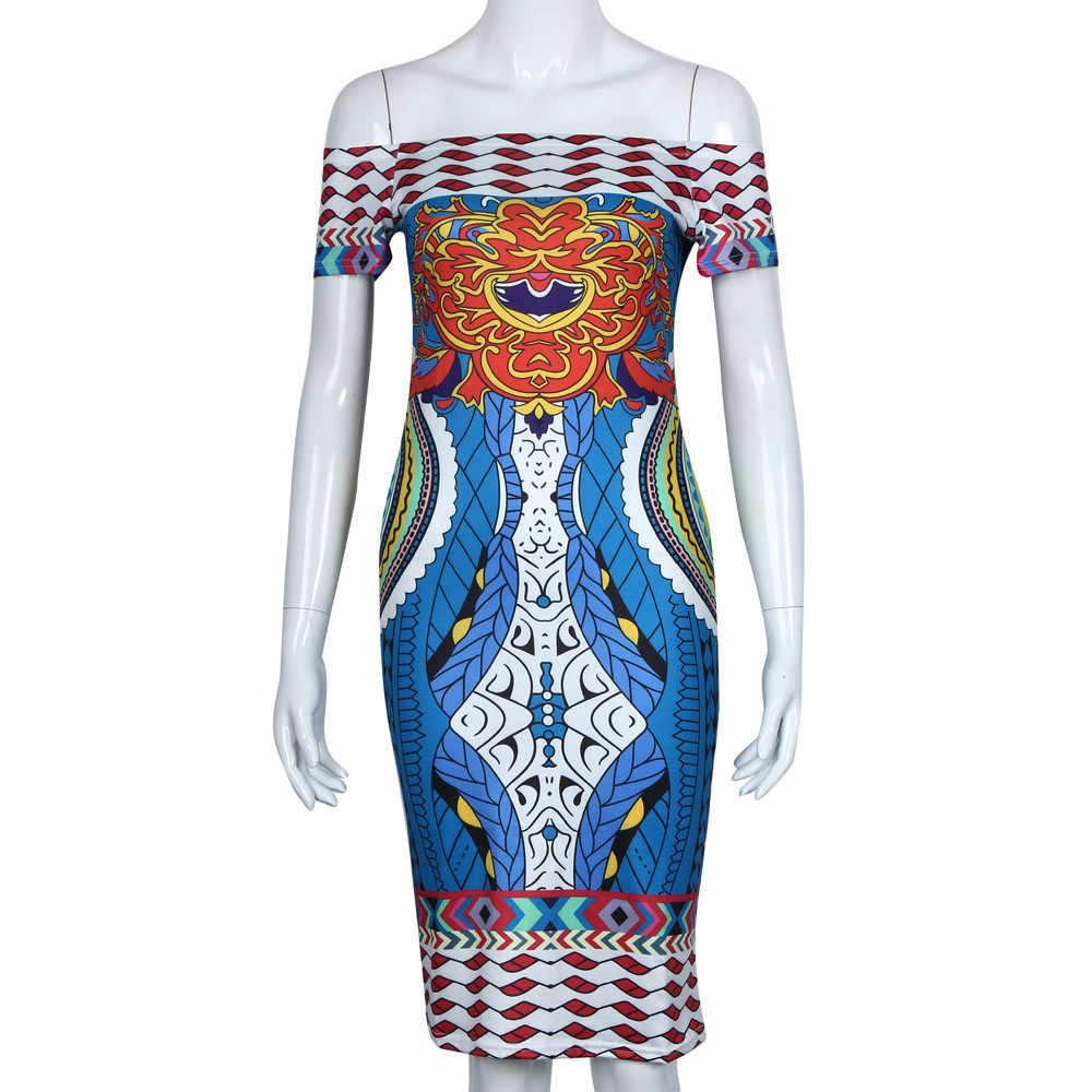 Новый дизайн традиционный Африканский узор Дашики Платье сексуальное с вырезом лодочкой Бохо пляжное платье женское повседневное богемное летнее платье