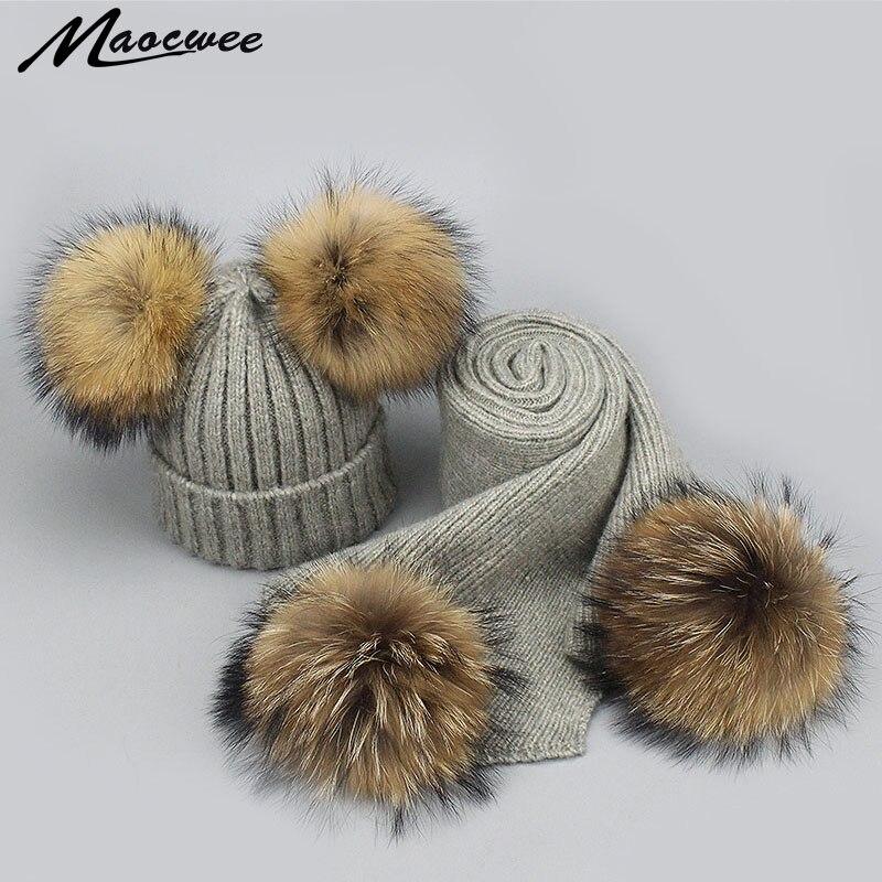2 Stücke Hut Und Schal Set Für Frauen Echt Waschbären Pelz Pompom Beanies Hüte Winter Wolle Gestrickte Weiche Warme Pompon Hut Skullies Knochen