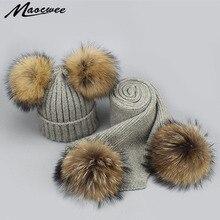 2 piezas sombrero y bufanda para las mujeres Real Raccoon Fur Pompom gorros  sombreros de lana de invierno de punto caliente suav. ac2cc71e39e