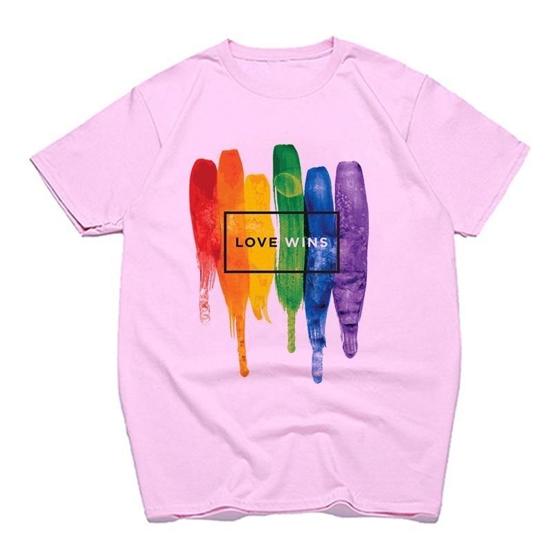 JJZHY lamour Est lamour-LGBT Rainbow T-Shirt Lovers Gay Lesbian T-Shirt /À Manches Courtes Unisexe