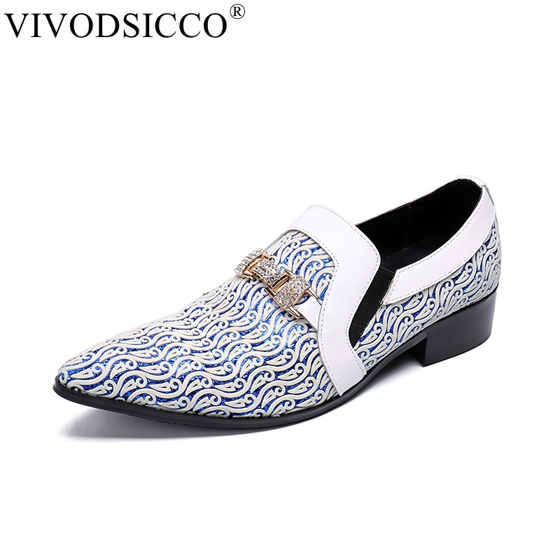 VIVODSICCO New Business Men Dress Shoes Fashion Man Genuine Leather Wedding Shoes Social Sapato Male Oxfords Flats Shoes Sapatos zobairou sapato social oxford shoes for men genuine leather gold dress shoes men flats spiked loafers wedding shoes