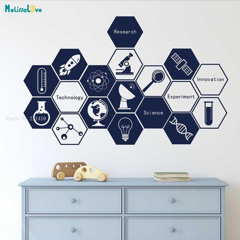 Science Technology Innovation Wall Decal Creative Vinyl Stickers Student Inspirational Vinyl Art For Nursery Classroom YT1814