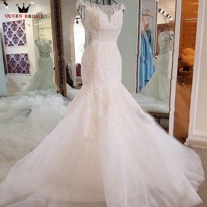 Sexy Sereia Vestidos de Casamento de Cristal Beading Sequins Lace Longo Formal Nupcial Do Vestido de Casamento Vestidos De Noiva Vestido de Noiva BW08