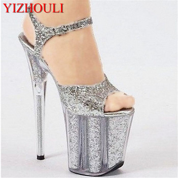 Fashion color transparent ribs core high heel sandals model T runway show SHOES 20 cm performance sandal