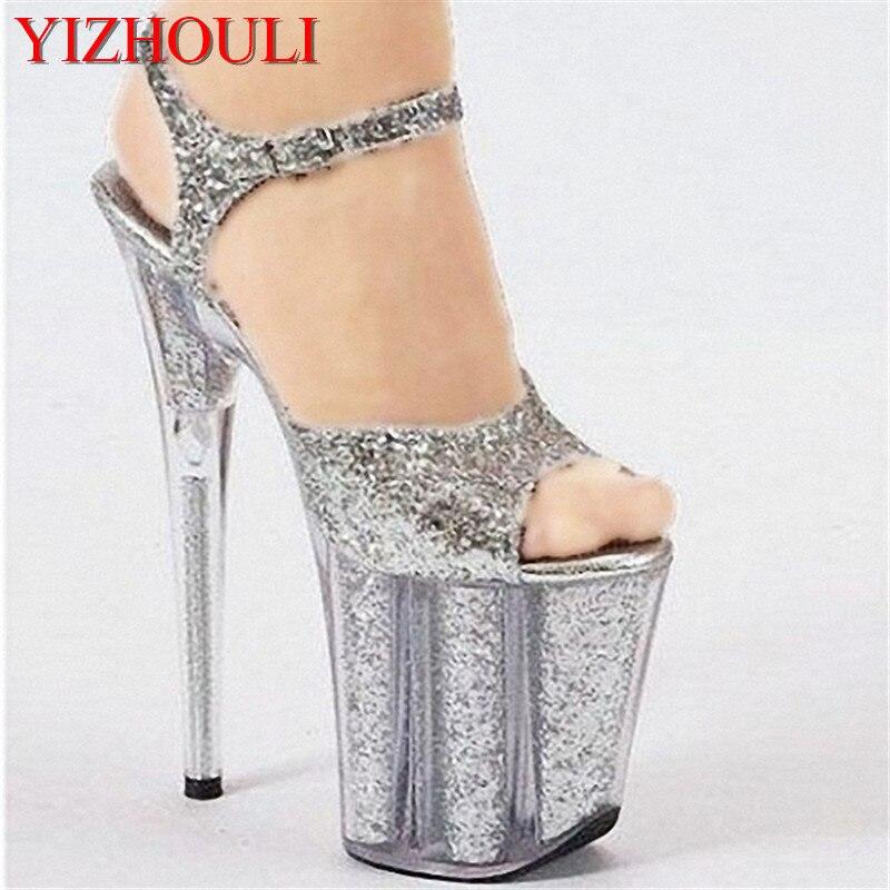 ファッションカラー透明リブコア高ヒールサンダルモデル T ファッションショーの靴 20 センチメートルパフォーマンスサンダル  グループ上の 靴 からの ハイヒール の中 1