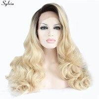 Sylvia Blond Ombre Ciało Fala Długie Platinum Blonde Wig Dwa Stonowanych ciemny Korzeń Żaroodporne Koronki Przodu Peruka Syntetyczna Peruka Dla Kobiet