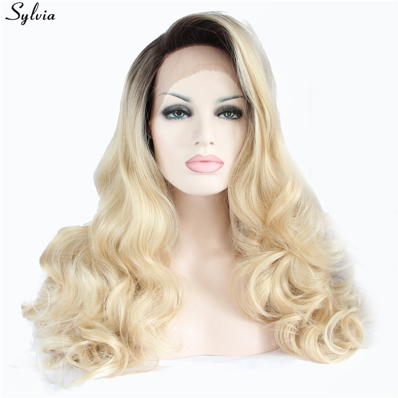 Hair Extensions & Wigs Sylvia Synthetic Wigs Heat Resistant Lace Front Wig For Women Wigs Hair Highlight Blonde Color Middle Part Hair Long Body Wave Discounts Price